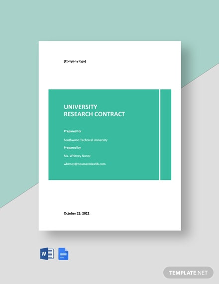 University Research Contract Template