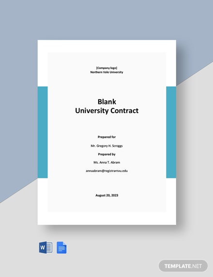 Free Blank University Contract Template