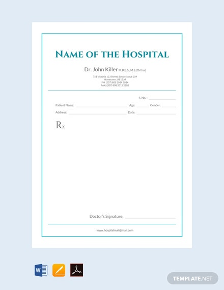 Free Medical Prescription Format