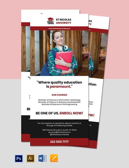 University Course Rack Card Template