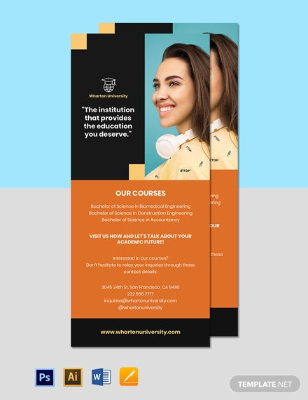 University Advertising Rack Card Template