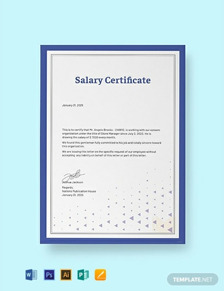 free salary certificate template word psd indesign