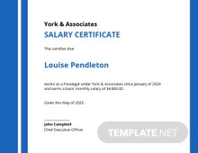 Free Salary Certificate Template