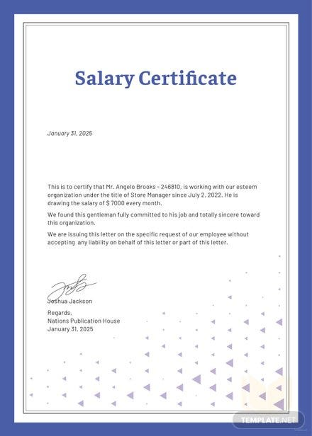 Free Salary Certificate Template Free Templates