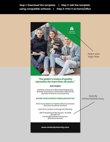 Professional University Rack Card Template format