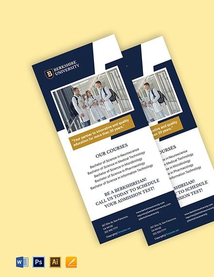 Free Simple University Rack Card Template