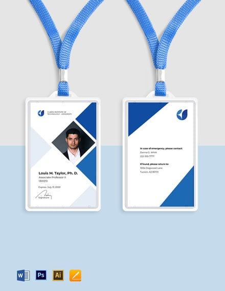 Faculty ID Card Sample