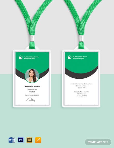 Business School ID Card Template