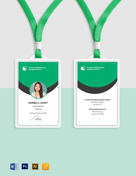 Business School ID Card Template