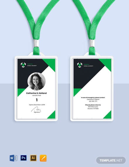 University Visitor ID Card Template