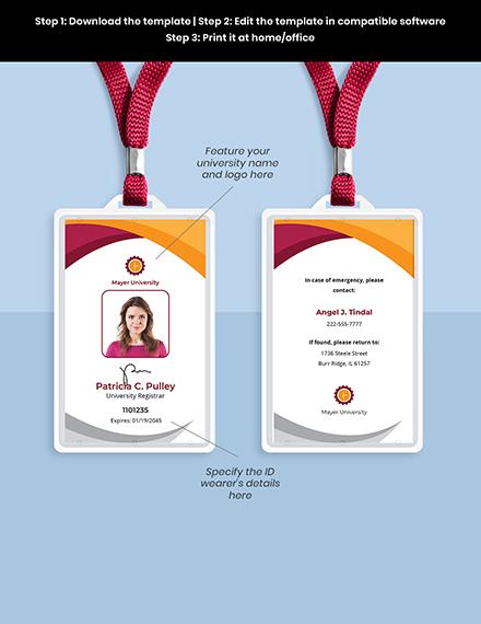 University Employee ID Card Template Format