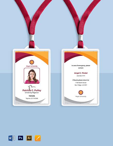 University Employee ID Card Template