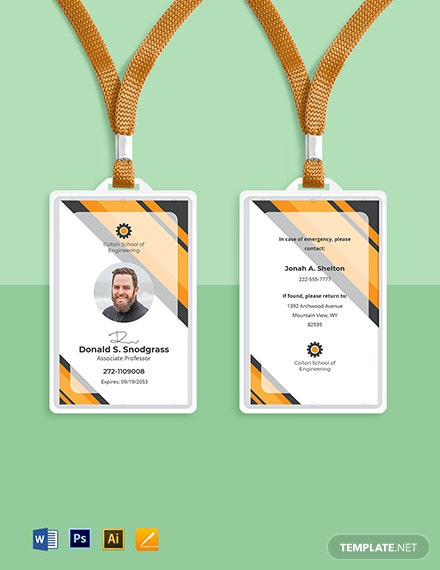 Engineering University ID Card Template