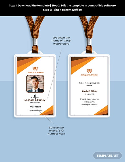 University College ID Card Template Format