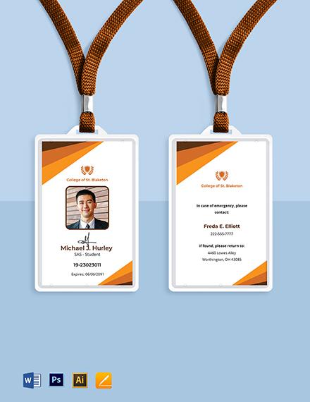 University College ID Card Template