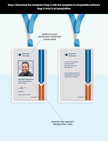 Free University Vertical ID Card Format