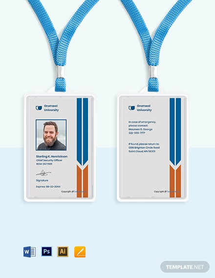 Free University Vertical ID Card Template