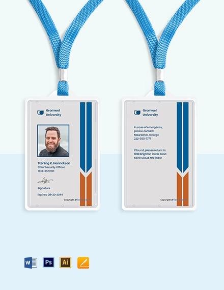 University Vertical ID Card Template