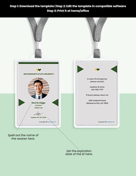 Free Modern University ID Card Format