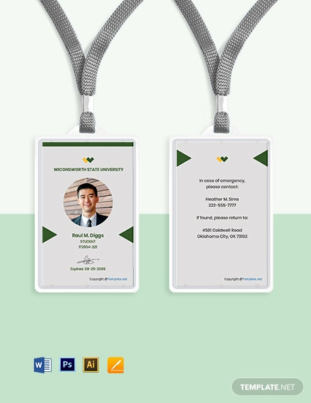 Free Modern University ID Card Template