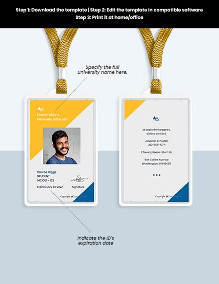 Free Creative University ID Card Format