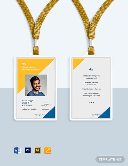 Free Creative University ID Card Template
