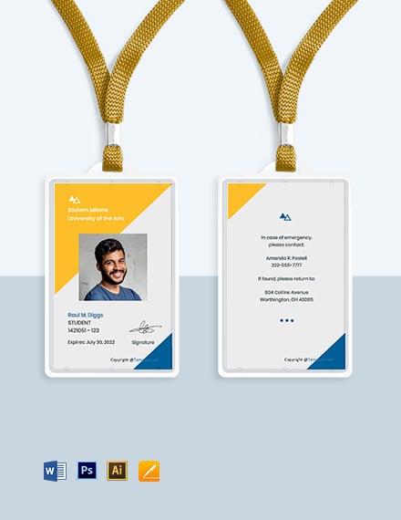 Free Creative University ID Card Template