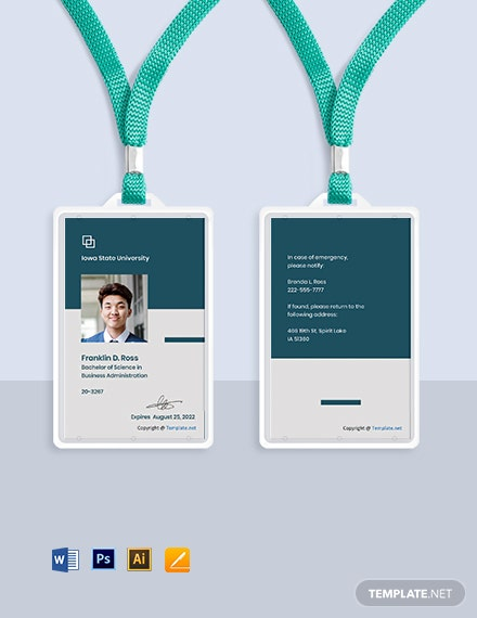 Free Simple University ID Card Template