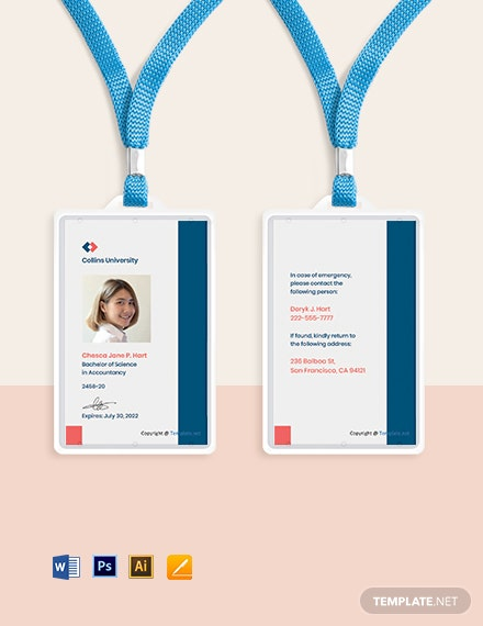 Free Sample University ID Card Template