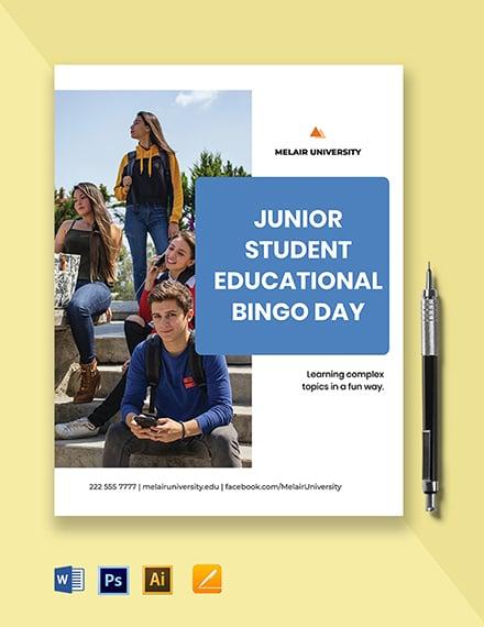 University Junior Council Bingo Flyer Template