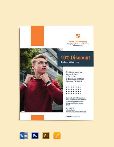 Free University Promotional Flyer Template
