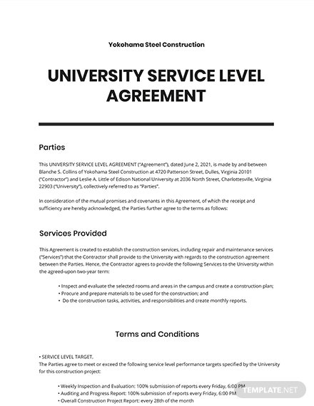 University Service Level Agreement Template