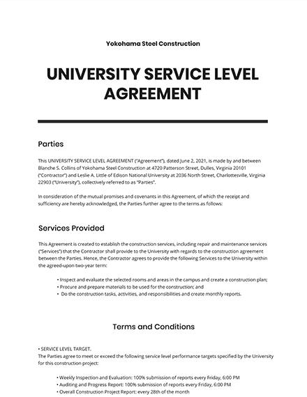 University Service Level Agreement Template