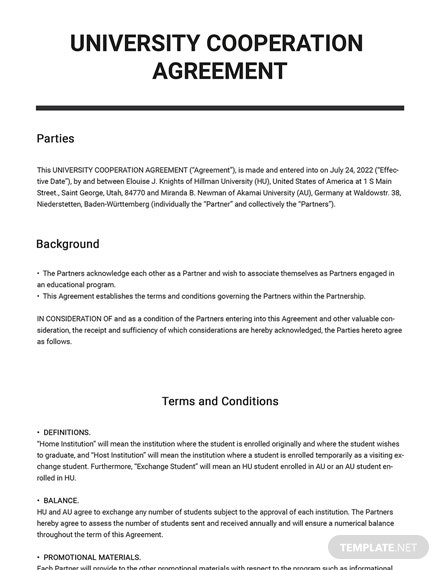 University Cooperation Agreement Template