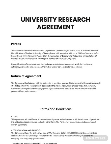 University Research Agreement Template