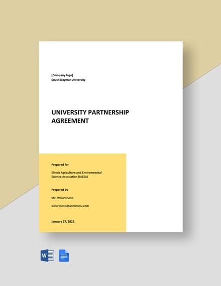 University Partnership Agreement Template