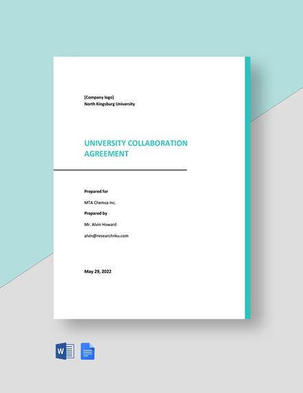 University Collaboration Agreement Template