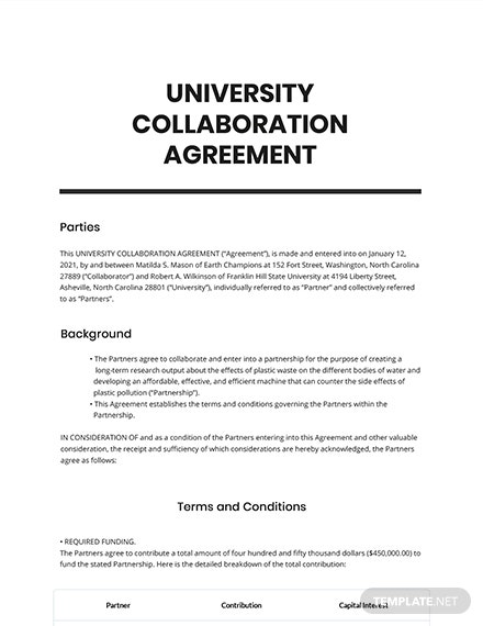 University Collaboration Agreement Template