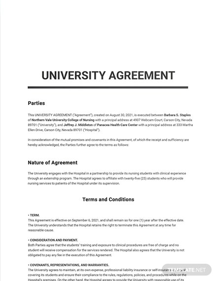 Free Blank University Agreement Template