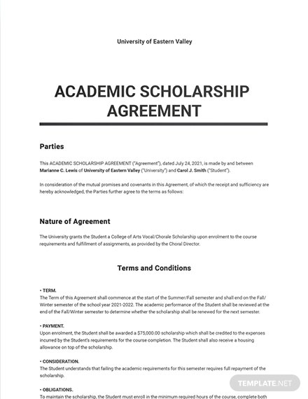 Free Basic University Agreement Template
