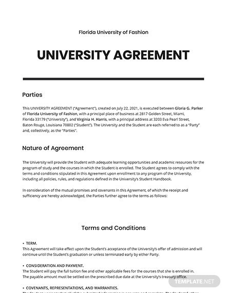 Free Simple University Agreement Template