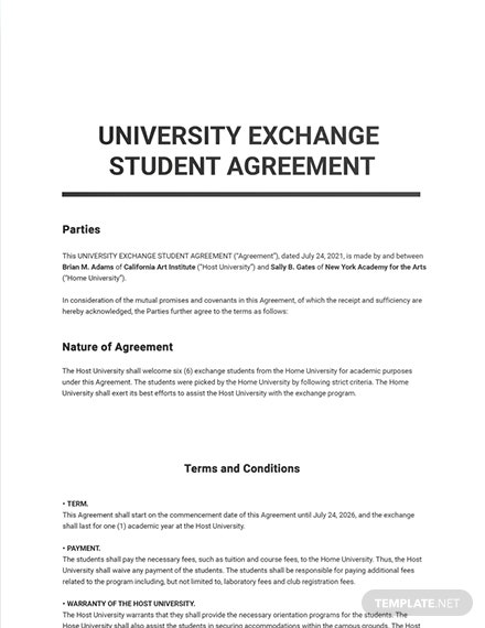 Free Sample University Agreement Template