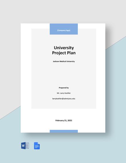 University Project Plan Template