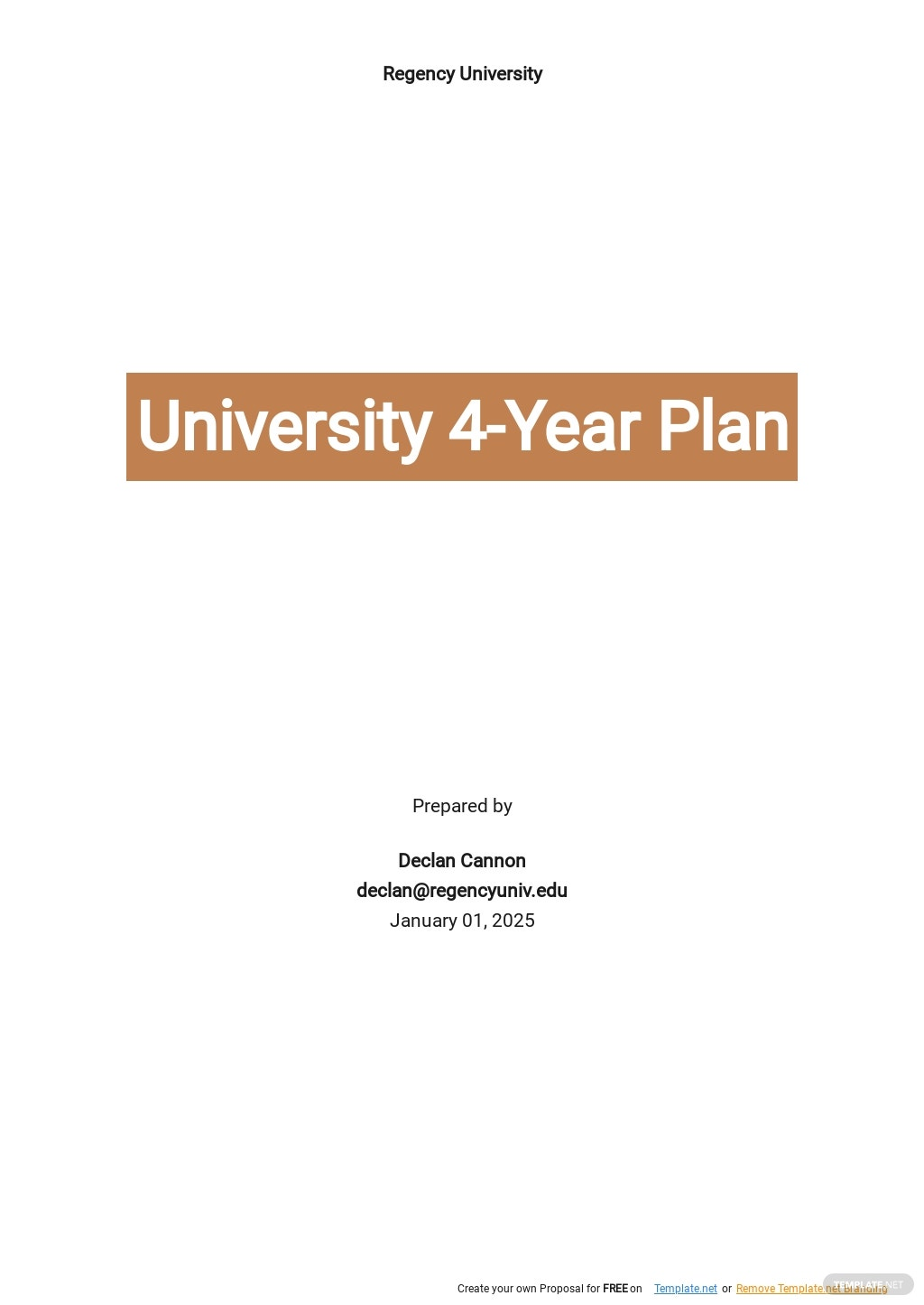 University 4 Year Plan Template