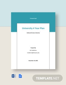 University 4 Year Plan Template