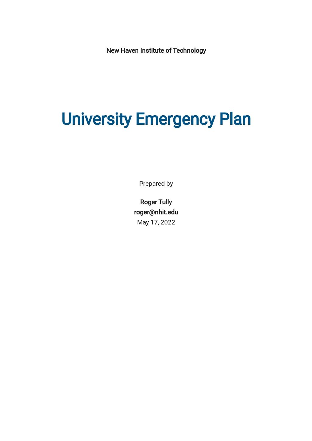 University Emergency Plan Template