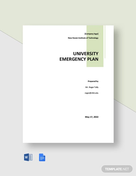 University Emergency Plan Template