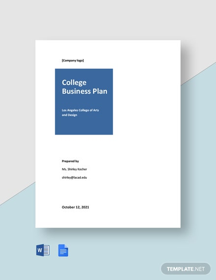 College Business Plan Template