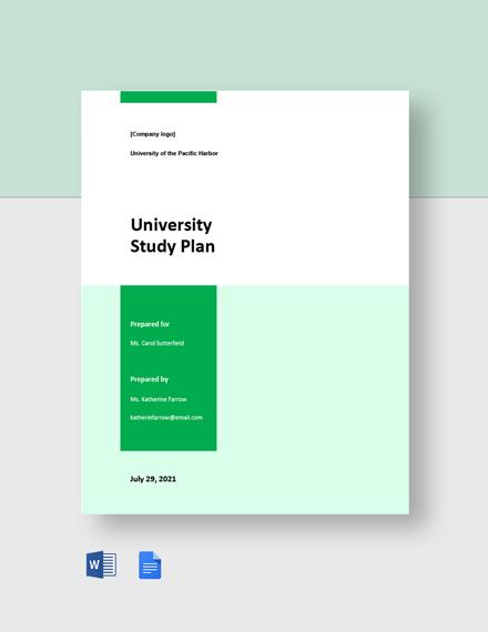 University Study Plan Template