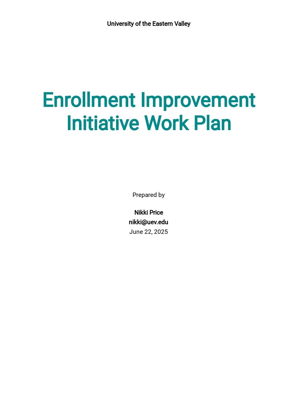 University Work Plan Template